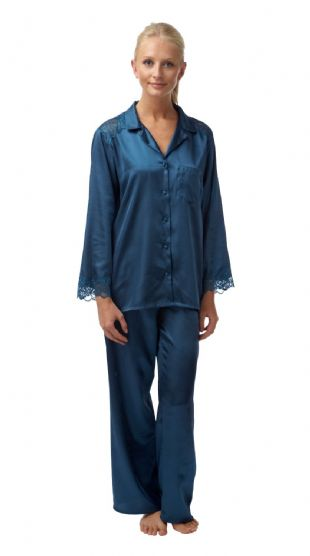 Ladies Charmeuse Satin 2 Piece Pyjamas - Blue Steel 10 - 28
